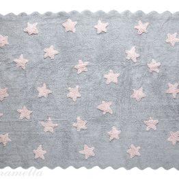 Siva preproga z roza zvezdicami